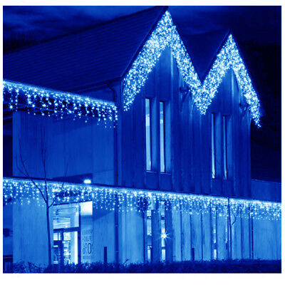 Connectable 5m Blue Led Icicle Snowing Hanging Xmas Outdoor