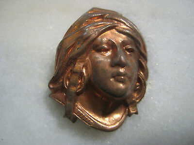 Vintage French Woman, 1930s Art Nouveau Lady, Goddess, Maiden Head, Brass Cameo