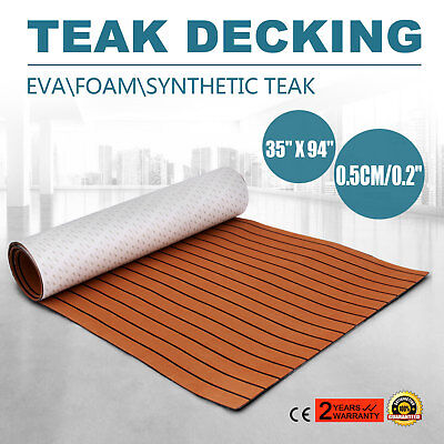 90 x 240cm EVA Foam Teak Decking 5m Sheet Marine Boat Floor Mat Self-Adhesive