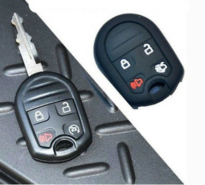 New 4 Buttons Black Key Fob Case Cover Skin Key Jacket Cover Protector For Ford