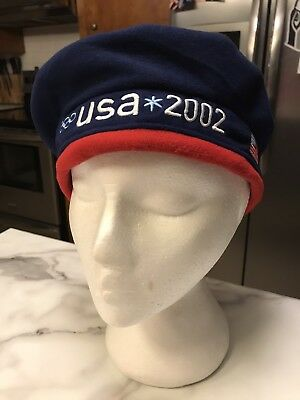 2002 USA US Olympic Team Winter Olympics  Roots Navy Blue Fleece Beret Hat NWT!!
