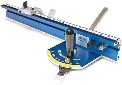 Miter Gauge System Aluminum Factory-Calibrated Blue with Curved Foot Swing Stop