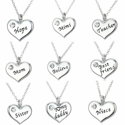 Family X'mas Gifts Crystal Love Heart Pendant Necklace Chains Jewelry Charms UK