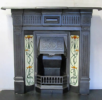 Victorian Cast Iron Tiled Fireplace