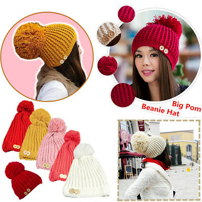 73deb1a6e45 New Big POM-POM Knit Slouchy Baggy Beanie Winter Hat Ski Cap Skull Women  Girls