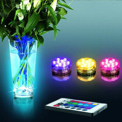 2pcs LED Light Waterproof Underwater Party Swimming Pool Spa Bath Remote Control
