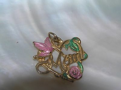 Vintage Victorian Style Pink & Green Painted Bird Rose MOM in Goldtone Heart Pen