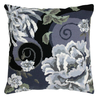 Floral Swirl in Black : Anchor Tapestry Kit: Cushion : Living : - ALR02