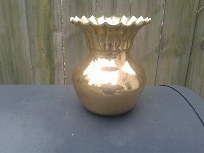 "Fluted Top Vase 5""  Heavy - Solid Brass - Vintage"