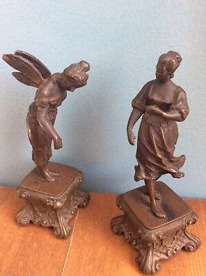 Pair Of Antique Solid Bronze Statues  Sculptures Fairy Austrian Or French