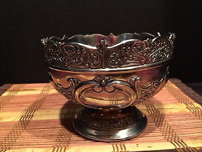 "Vintage Ornate Heavy Silver on Copper Dish Bowl Footed Japan 5 1/4""x3 3/4"""