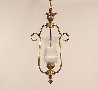 Antique 1 Light Brass Pendant w/ Frosted Hurricane Shade