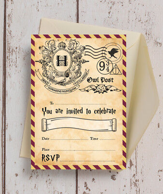 Pack Of 10 Harry Potter Wizards Kids Teen Birthday Party Invitations Envelopes