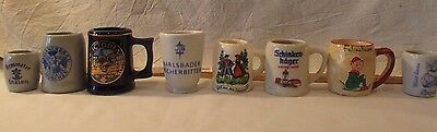 LOT of 8 VINTAGE MINI BEER STEINS GERMANY CANADA ENGLAND ADVERTISING COLLECTIBLE
