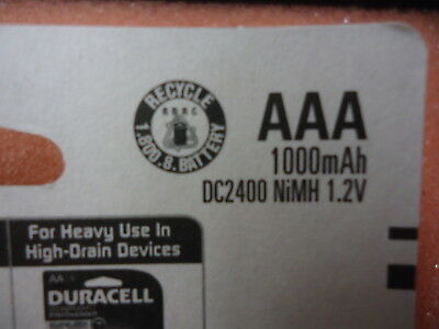 DC2400 Duracell Rechargeable AAA NiMH 1.2V 1000mAh NEW!