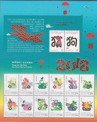 Christmas Island  2018 Year of the Dog Mint unhinged Large Mini Sheet stamps.