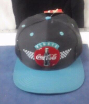 Vtg Coca Cola Cap Hat Always Checker Embroidered Black Turquoise Snapback w/tag