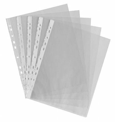 A4 Plastic Poly Punched Pockets Sleeves Glass Clear 45 Micron Folders Wallets