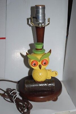 Vintage Wooden Owl Table Lamp By Nursery Plastics Inc Yellow Green Brown