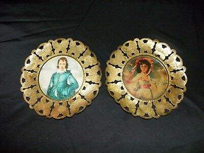 Vintage Little Boy Blue and Pinky Brass Glass Round Picture Frames