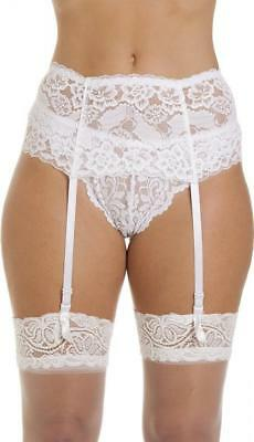 Camille Womens Ladies Silky White Silky Wide Lace Ribbon Strap Suspender Belt