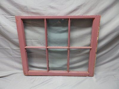 Antique 6 Lite Window Sash Shabby Cottage Chic Double Hung Pink 21X25 75-18P