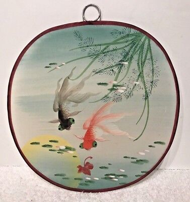 Vintage Silk Hand Held Fan Hand Painted With Goldfish