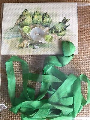 Cottage Green 100% Green Silk Ribbon Hand Dyed 7mm 2 Yards Crazy Quilt