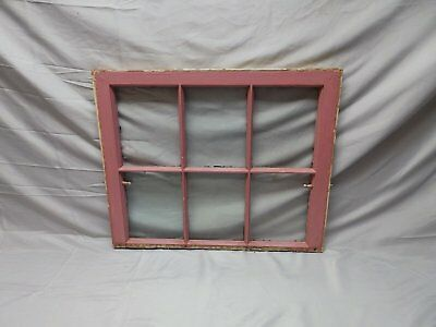 Antique 6 Lite Window Sash Shabby Cottage Chic Double Hung Pink 21X25 76-18P