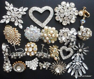 VINTAGE JEWELRY COLLECTION for CRAFTS elegant RHINESTONE pieces~SUPER SPARKLY!