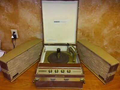 Vintage 1959 Columbia C-1014T portable stereo phonograph detachable speakers 75W