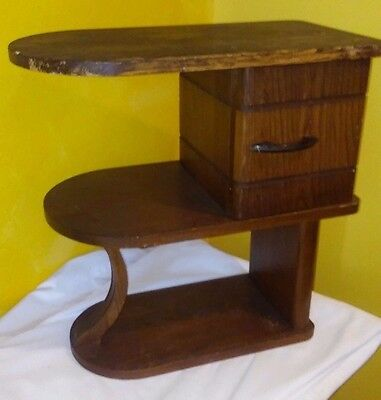 Vintage Art Deco Step Table Wood 3 Tiered End Table one door Stand accent