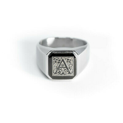 Stainless Steel Floral Monogram Letter A Mens Square Biker Style Signet Ring