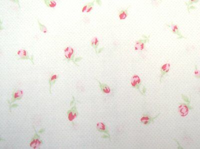 """26"""" Remnant Cottage Shabby Chic Lecien Antique Flower Off-White w/Tiny Pink Dots"""