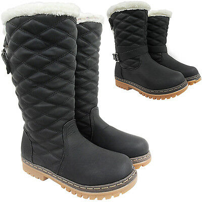 Womens Ladies Knee High Calf Fur Lined Grip Winter Snow Boots Shoes Size Walking