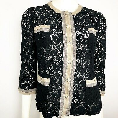 Linea by Louis Dell'Olio Lace Jacket Size Small Black Tan Trim Detail