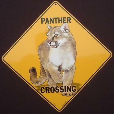 PANTHER CROSSING SIGN aluminum decor picture home signs novelty animals art cats