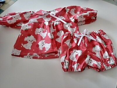 "White Puppy Print Dress and Matching Panties for 16""  Cabbage Patch Doll"