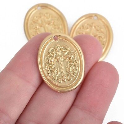 17mm chs3851 Copper Hammered Cross with Gold Cross 5 Cross Relic Charms