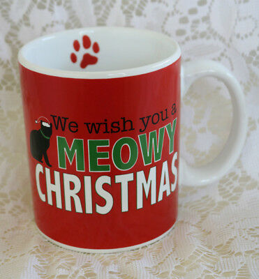 New Ceramic 16 oz Meowy Christmas Black Cat Kitty Kitten Lover Tea Coffee Mug
