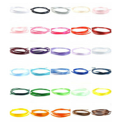 """Satin Ribbon 3mm (1/8"""" inch) - 35 Plain Coloured Double Sided / Faced Ribbon"""