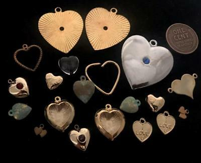 Vintage Mixed Metal Heart Charms Mix 20