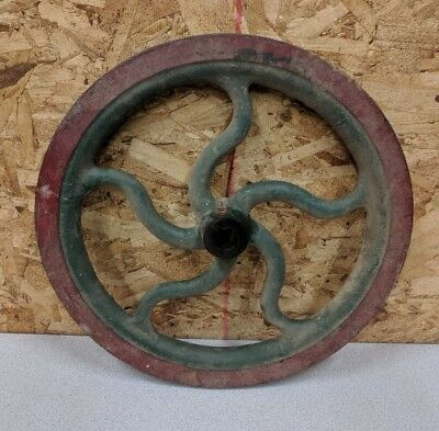 Vintage Cast iron Factory Machine Fly Wheel,Hand Crank,5 Curved Spokes,13.5""