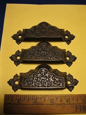Old 1872 pat hardware 3 cast iron Victorian fancy high style bin or drawer pulls