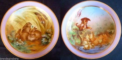 Pair Antique Pink Opaline Glass Bowls Handpainted Animals Myth Fables  (#3666)