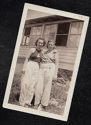 Antique Vintage Photograph Two Women in White Pants Standing in Front of House