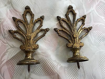 Antique pair of French heavy bronze brass curtains finals ends stamped LL