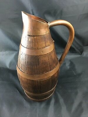 Antique French oak wood & copper wine cider jug pitcher barrel