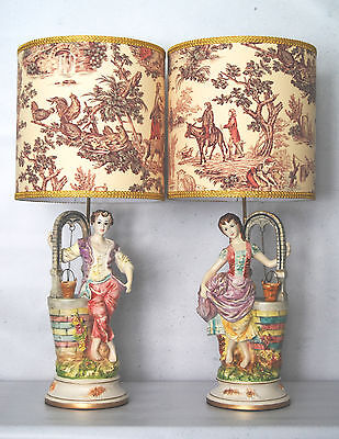 Beautiful Pair Capodimonte - Style Figural Lamps-Fully Restored W/ Custom Shades