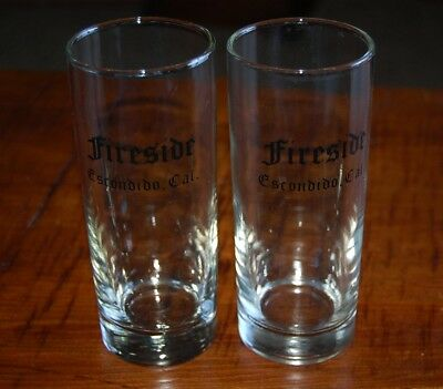 Vintage pair of The Fireside Restaurant, Escondido, California Tall Bar Glasses